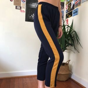 Tuxedo Style Cropped Tapered Track Pants